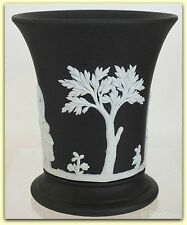 "Wedgwood Jasperware Embossed White On Black Vase 3 3/4"" Tall Made In England"