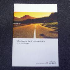 2012 AUDI Models USA Warranty & Maintenance Service Schedule book english