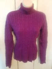 Womens Charter Club Purple Cable Turtleneck Sweater size Small~