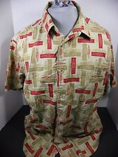 Woolrich Khaki All Over Kayaks Mens Button Shirt - Size L