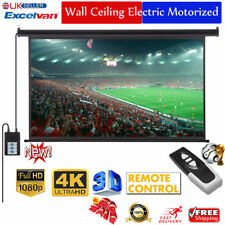 "100"" Electric Motorized HD Projector Projection Screen 16:9 Home Cinema Theater"