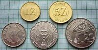 ZAIRE 1976-1987 5,10,20 MAKUTA 1 & 5 ZAIRE 5 COINS SET, UNC