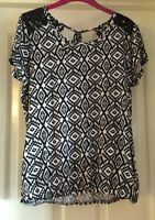 TU Black + White Top With Lace, Size 12-14 - Lovely!