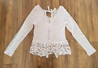 FREE PEOPLE Tight Lace Tie Up Back Sweater Top WOMENS SZ M Blush Pink PEPLUM
