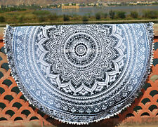 "Traditional Indian 46"" Round Tapestry Mandala Hippie Beach Rug Bohemian Yoga Mat"