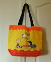 VTG PEANUTS CHARLIE BROWN SNOOPY LUCY SCHROEDER PIANO PLAYING CANVAS TOTE BAG