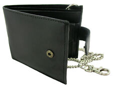 Scan Proof RFID Leather Wallet For Men With Belt Chain Black or Brown