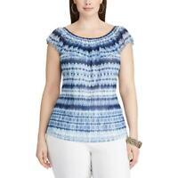 Chaps Blue Tie Dye Printed Off The Shoulder Mesh Top Blouse Lined Size XL NWT$49