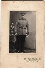 Foto Karton Soldat Infantrie Göppingen Ärmelabz. Kaiserpreissch. Winker ca.1910