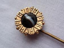 ANTIQUE 9 CT YELLOW GOLD AGATE STICK LAPEL STICK TIE PIN