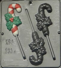 Candy Cane with Holly Lollipop Chocolate Candy Mold Christmas  2093 NEW