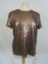 Sequin Top Bronze Gold Short Sleeve Keyhole Back Button Size L By AXIS Apparel