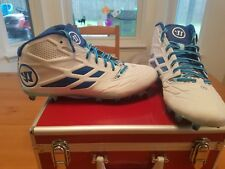 NEW Mens Warrior Burn 8.0 Mid Cleats White/Blue Size 12 M