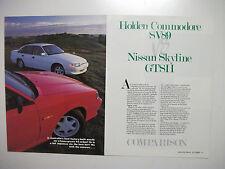 HOLDEN VN HSV SV89 & NISSAN SKYLINE GTS 11 8 PAGE MAGAZINE COMPARISON ROAD TEST