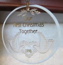 OUR FIRST CHRISTMAS TOGETHER 1990 Hallmark Keepsake Ornament Doves Clear Acrylic