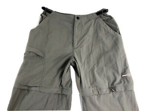REI Convertible Zip Off Taupe/Gray Cargo Hiking Pants Nylon Womens Sz M (30x30)