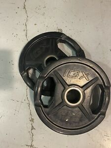 """Pair of 25lb/11.3kg IGX Rubber Coated Weight Plate, Olympic / 2"""""""
