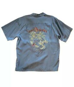 Tommy Bahama Embroidered Silk Paradise Island Life's a Beach Light Blue Mens L