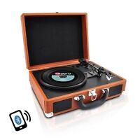 Pyle PVTTBT6BR Bluetooth Turntable w/Vinyl to MP3, AUX, RCA, Rechargeable Batt