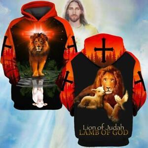 Jesus Lion Of Judah Lamb Of God Hoodie 3D Print M - 3XL