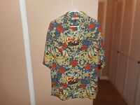 """Tommy Bahama """"Let The Good Times Roll"""" Christmas 100% Silk  Blue Shirt M Mint"""