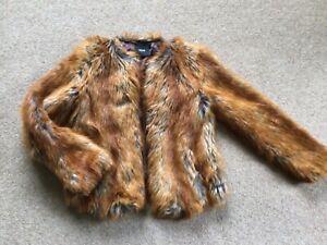 Asos Faux Fox Fur Lined Jacket. Size 8