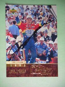 Jeff Gordon signed 1996 UPPER DECK HISTORY BOOK #24 1993 ROTY WC Card #138 W/COA