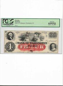 OBSOLETE BANK NOTE,$4 Bank of Washington, Washington, NC  Gem New 65PPQ