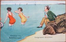 Bathing Beauty 1926 Risque Postcard: Man w/Cane Looking at Two Young Women