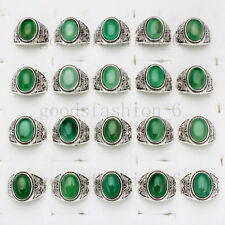 Wholesale lots 10ps Natural Jade Agate Gemstone Stone Silver Tone Ring FREE