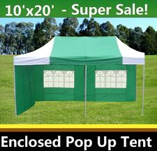 10'x20' Enclosed Pop Up Canopy Party Folding Tent Gazebo - Green White - E Model