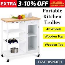 Portable Kitchen Cooking Workbench Trolley Island Wooden Bench Kitchen Storage