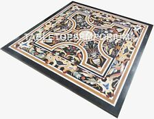 """36""""x36"""" Black Marble Kitchen Table Top Marquetry Inlay New Year Decor E469A"""