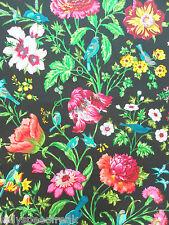 Schumacher Curtain Fabric AVONDALE FLORAL 2.4m Night Garden (Black) Cotton 240cm