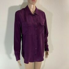 EQUIPMENT Signature Silk Shirt Blouse in Purple Size S