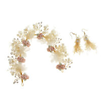 Pearl Rhinestone Wedding Headband Earrings Set Bridal Flower Tiara Crown