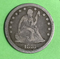 1876-P 25c Seated Liberty Quarter Vg Very Good