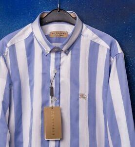 BURBERRY Shirt Casual Blue White Stripe Blue Brand New Men 2XL Cotton GENUINE