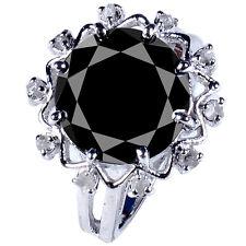 Natural Rough Diamond.925 Silver Ring 6.50 ct Black Moissanite Round &