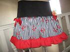 NEW Black,white,Red,Blue Nautical Anchors,Stripes Festival Frilly Skirt,Lolita,
