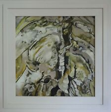 Shell Scheme Katy Wroe oil painting framed wood panel abstract form yellow beige