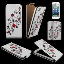 Handy Tasche Flip Case hülle für Apple iPhone 5 / Handytasche Rose rot