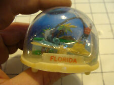 vintage 60's-70's Plastic Snow Globe Hong Kong: FLORIDA see-saw MARLIN FISHING 2