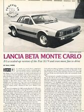 1975 Lancia Monte Carlo Scorpion Test Original Car Review Print Article J657