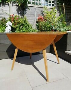 Ercol Folding Round Drop Leaf Wooden Space Saving Side Dining Table