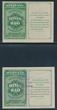 #RE56-59 1916 SERIES WINE STAMPS $20, $40, $50, $100 VALUES CV $413 BT7681