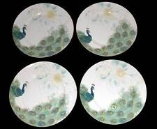 4 LAKSHMI Turquoise Teal & Gold Peacock & Feathers Dinner Plates 222 Fifth NIB