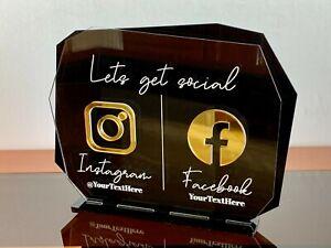 Personalized Instagram & Facebook Name Salon Signs Social Media Custom, Username
