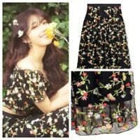 H&M Trend Embroidered Midi Floral Skirt Boho A-line S 36 6 US 10 UK Summer Black