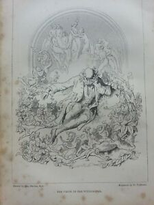 ANTIQUE PRINT 1848 THE VISION OF THE WOODCUTTER ENGRAVING FAIRIES MAGICAL ART